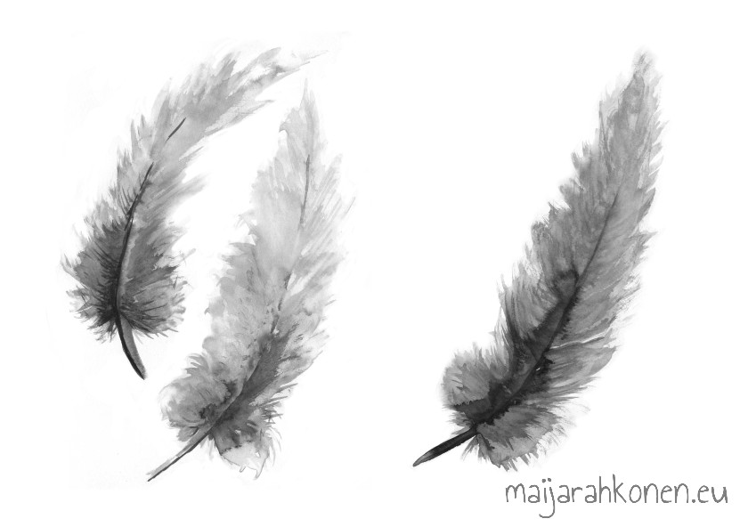 Inked feathers
